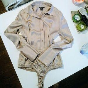 NWOT Moda International Silk Button Up Bodysuit